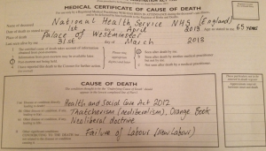 The death certificate of the NHS, issued by the National Health Action Party